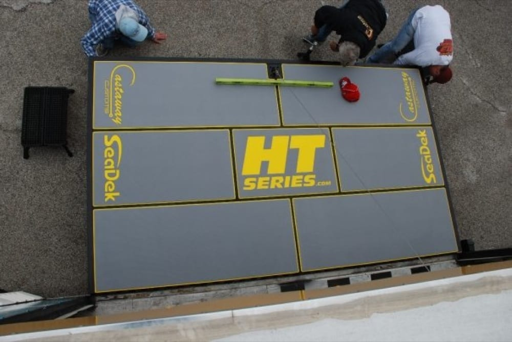 The HT Series stage being setup and leveled