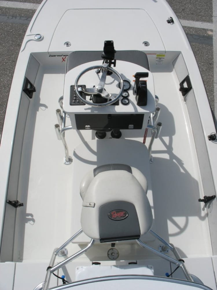 This is a before shot of the cockpit of the boat.