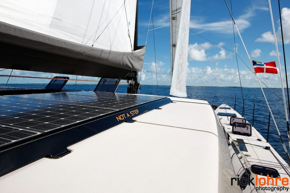 A cool view of the solar panels and the starboard bow
