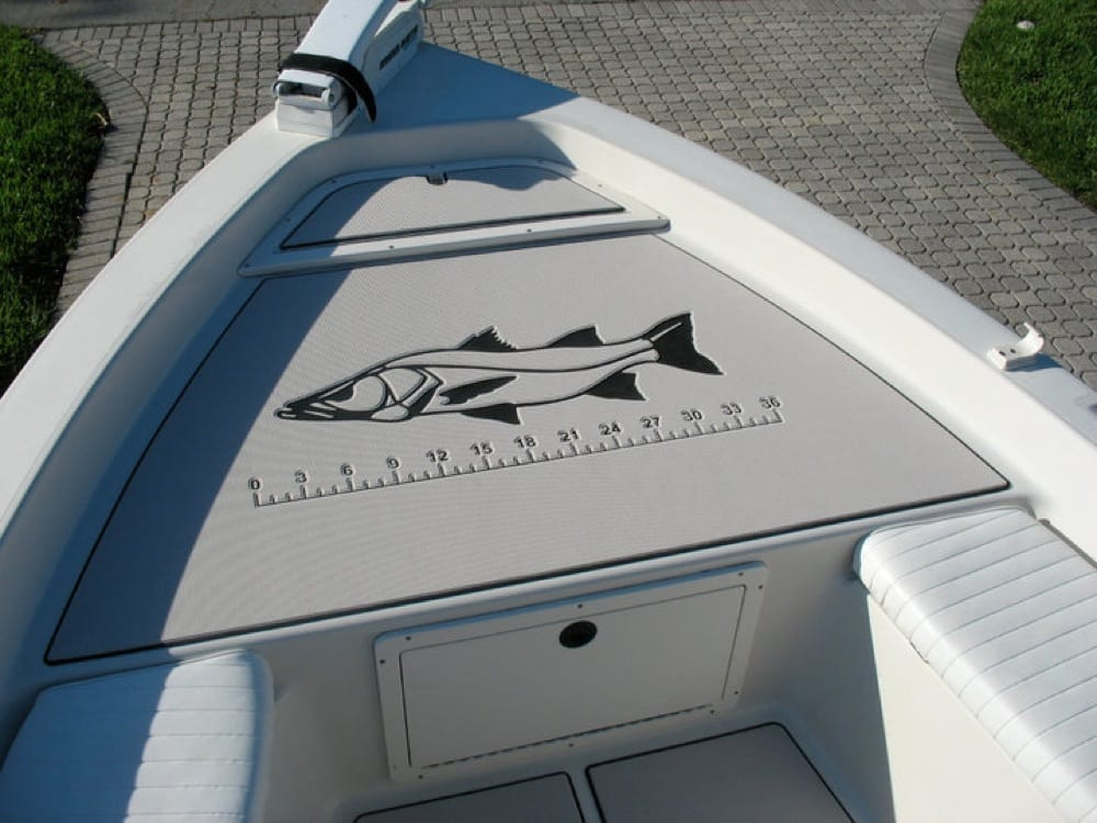 The front deck with snook logo and ruler stick